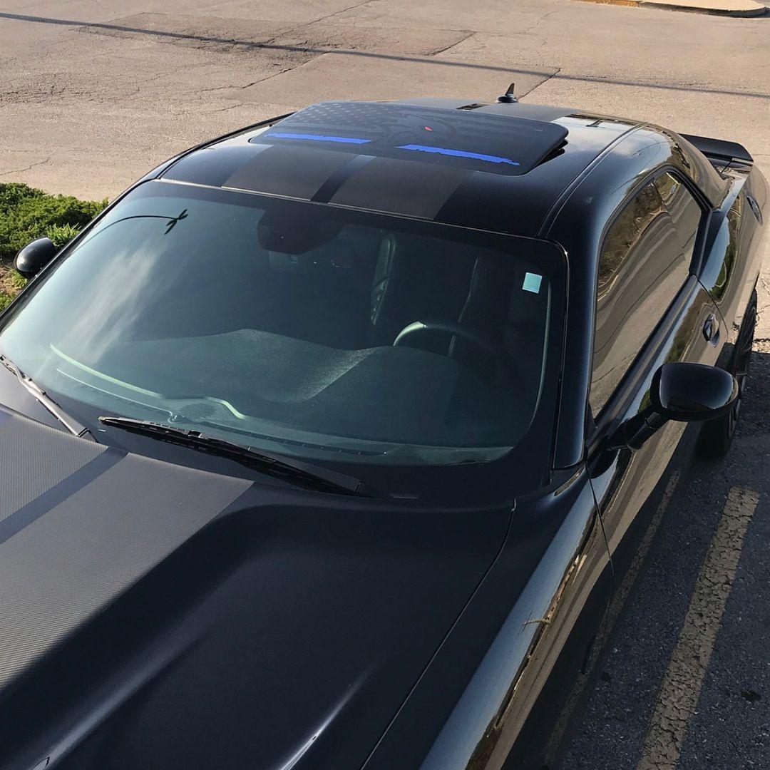 2 Dodge Challenger Window Sunroof US flag Hellcat blue