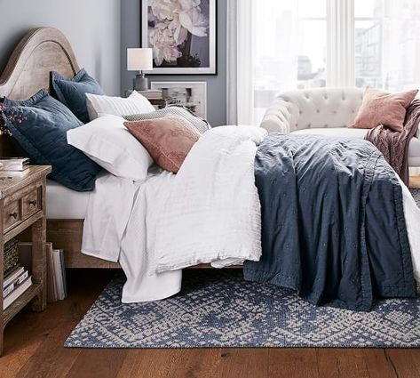 Photo of Triangle Stitch Washed Cotton Quilt and Shams