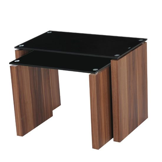 Atlanta Black Gl Nest Of Tables In Walnut Finish Leg