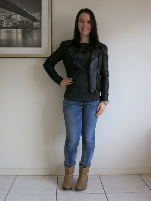 Brown boots jeans and black jacket