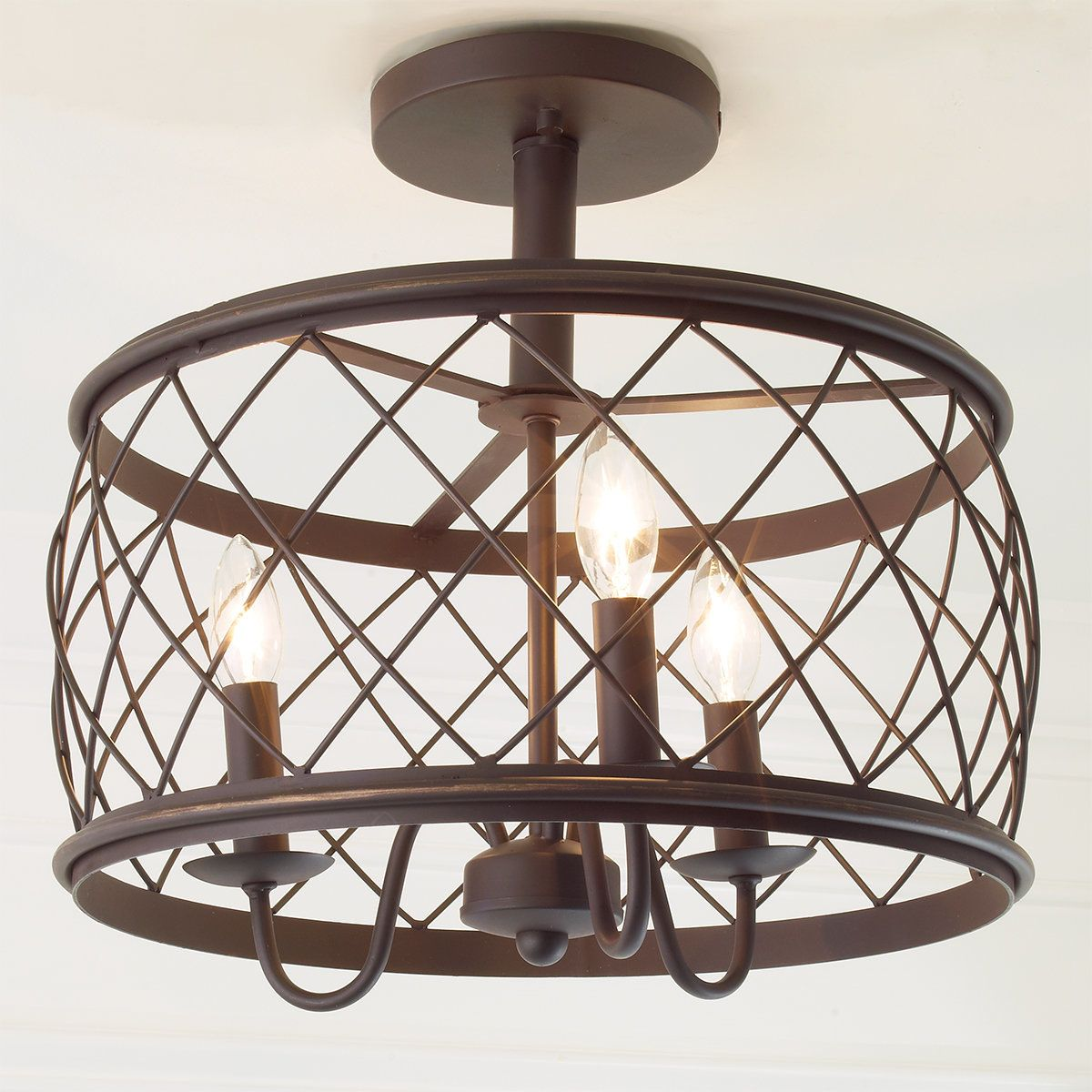 Bedroom Ceiling Lights Nz Trellis Cage Semi Flush Ceiling Light Medium In 2019