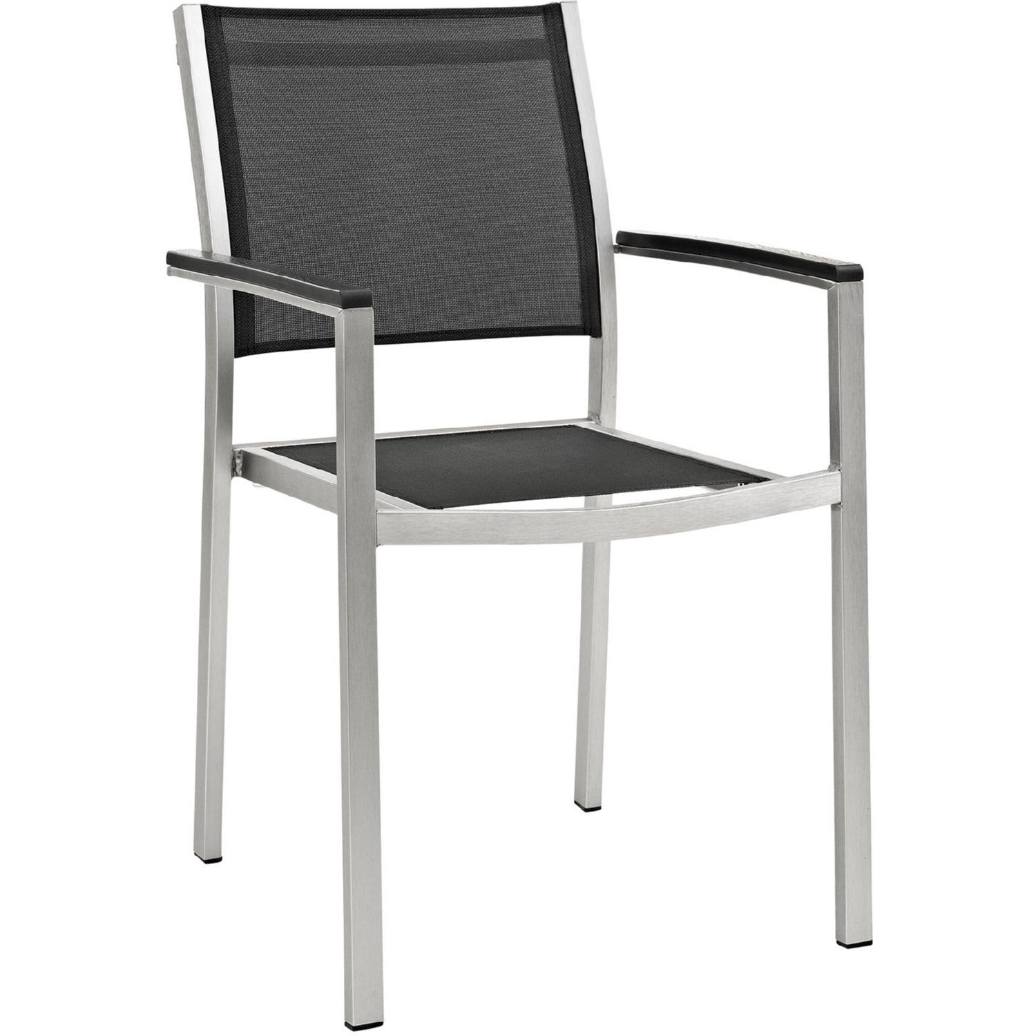 Modway Shore Outdoor Aluminum Dining Chair Brushed Silver Black