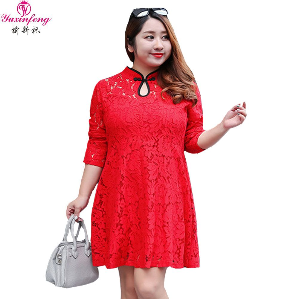 Xlxl spring new year casual large size women dress long