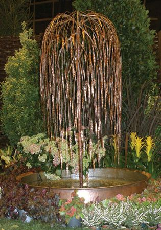 weeping willow copper tree water feature water features on Tree Water Feature id=56703