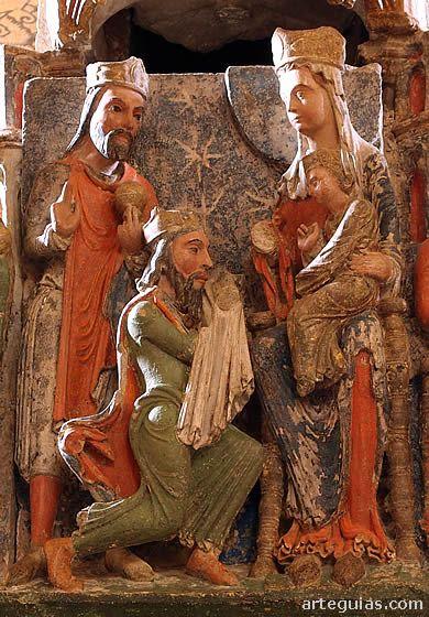 Spain Medieval Adoracion De Los Reyes Magos En El Cenotafio De San Vicente De Avila Arte Religioso Medieval Magos De Oriente