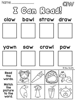 Au Aw Worksheets Activities No Prep With Images Wh
