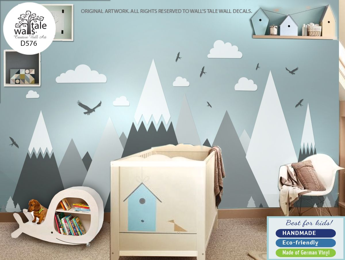 Mountain Wall Decal Nursery Mountains Huge Stickers Entire Wall