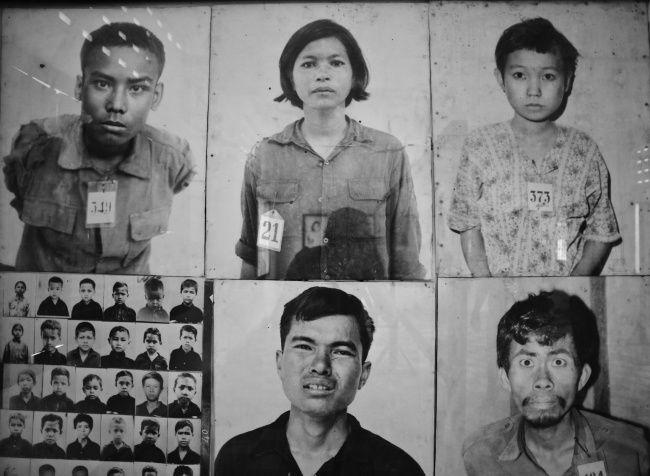 Victims of Khmer Rouge. This photo is taken in Tuol Sleng ...
