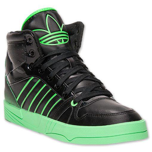 Men's adidas Court Pro Casual Shoes| FinishLine.com | Black/Black/Green