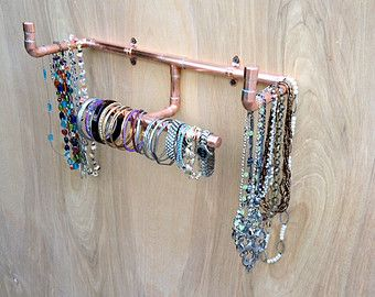 Copper Pipe Jewelry Tree Modern Jewelry Organizer by MacAndLexie
