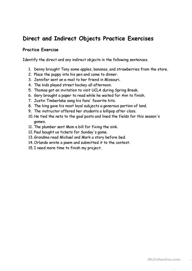 hight resolution of direct indirect objects   Practices worksheets