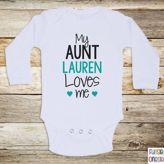 Personalized baby onesie my aunt loves me by newbornbabyclothes personalized baby clothes my aunt loves me short or long sleeve baby one piece for boys or girls baby shower gifts baby clothes negle Image collections