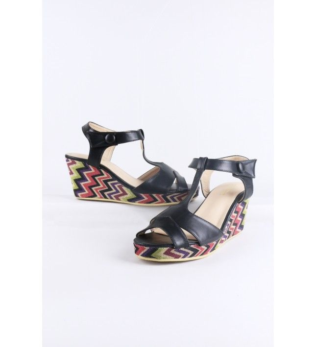 9e99978ae4d LMS Black Wedge Sandal With Zig-Zag Printed Sole in 2018