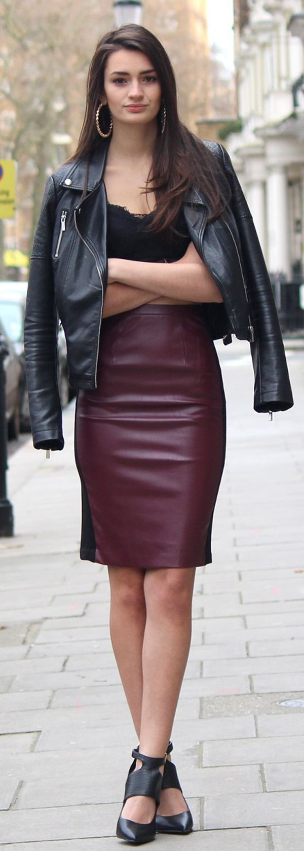 Business Outfit Ideas with Leather Skirts | Biker jacket outfit ...