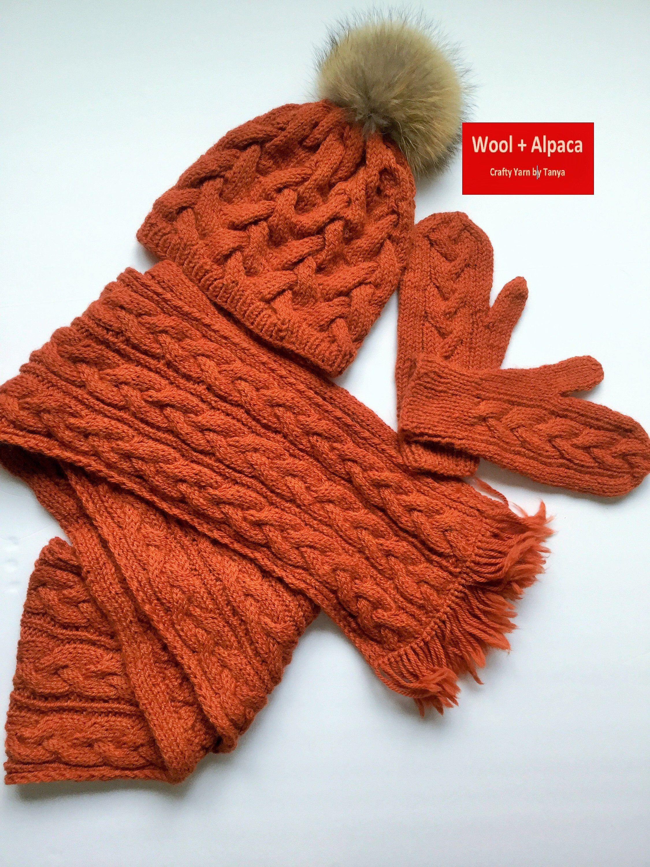 cf283086d3d7a Excited to share this item from my  etsy shop  Hand Knit Matching Orange Set