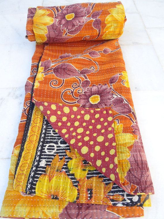 Indian Handmade Quilt Vintage Twin Kantha Bedspread Throw Cotton Blanket 1164 BY…