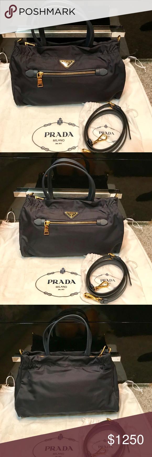bd5af706fa7 PRADA Tessuto and Saffiano bag Prada Nylon bag - Color  Blue (Very Dark Blue