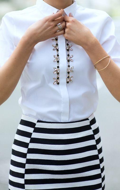 a6b1d6cd2 Oh!!!Elegante camisa blanca,con apliques de piedras,combinada con ...
