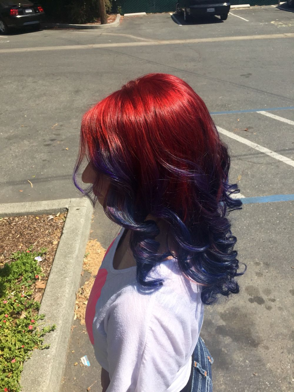 Ruby Red To Inidgo To Sapphire Blue Ombre Blue Hair Red Ombre Hair Red Hair Color