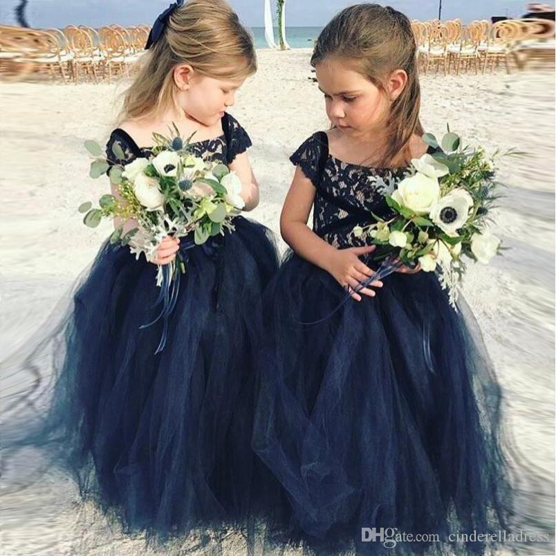 New Navy Blue Lace Arabic Flower Girl Dresses Cheap Ball Gown Tulle Child Wedding Dresses Vintage Little Girl Pageant Dresses Beautiful Flower Girl Dress Brides Flower Girl Dresses Navy Flower Girl