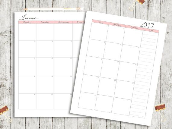 2017 Month on Two Pages Monthly Planner by PaperScribblesCo - diary paper printable