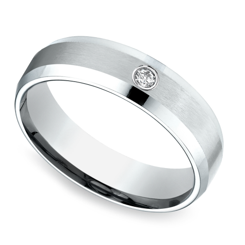 Inset Beveled Men S Wedding Ring In Palladium 6mm