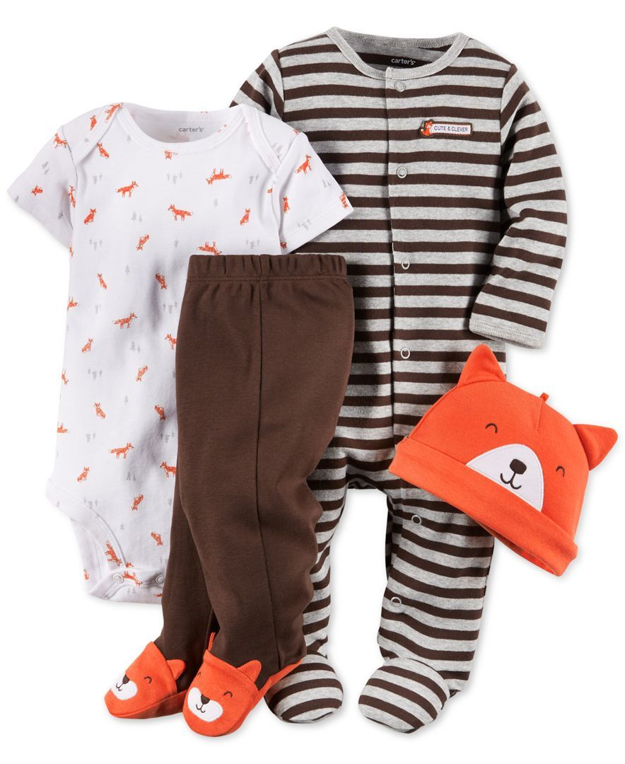 ec4b25847c42 Carter s Baby Boys  4-Piece Fox Layette Set