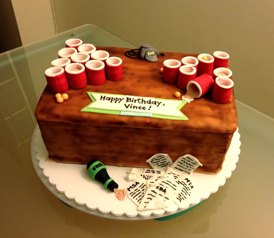 Beer Pong Birthday Cake With Images Beer Pong Cake 21st