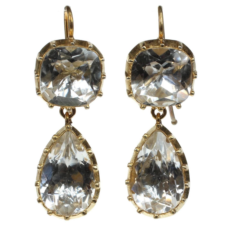 Georgian Style Cushion Pear Cut Rock Crystal Silver Gold Vermeil