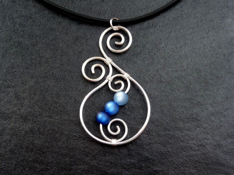 Necklace - Aotearoa - with Polarisbeads BLUE New Zealand Koru wire ...