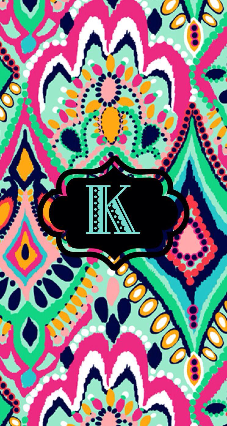 K Monogram Wallpaper Lilypulitzer Monogram Wallpaper Wallpaper Cute Wallpapers