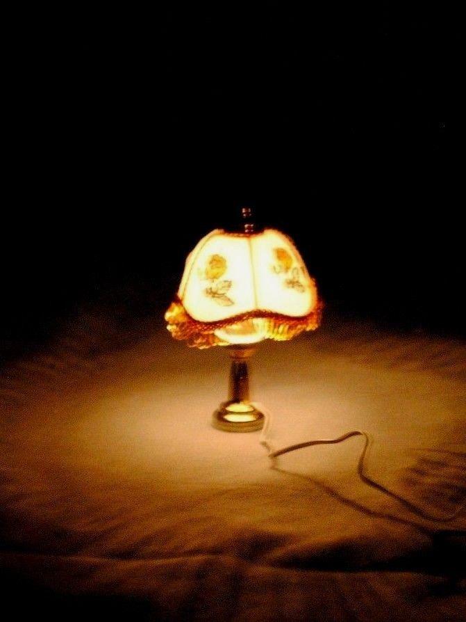 Light Desk Lamp W Fringe Dollhouse Miniature T8705 12 Volt Light 1 12 Scale Townsquareminiature Lamp Desk Lamp Edison Light Bulbs