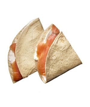 Snack idea: La Tortilla Factory High Fiber Low Carb tortilla wrapped with smoked salmon and low-fat cream cheese