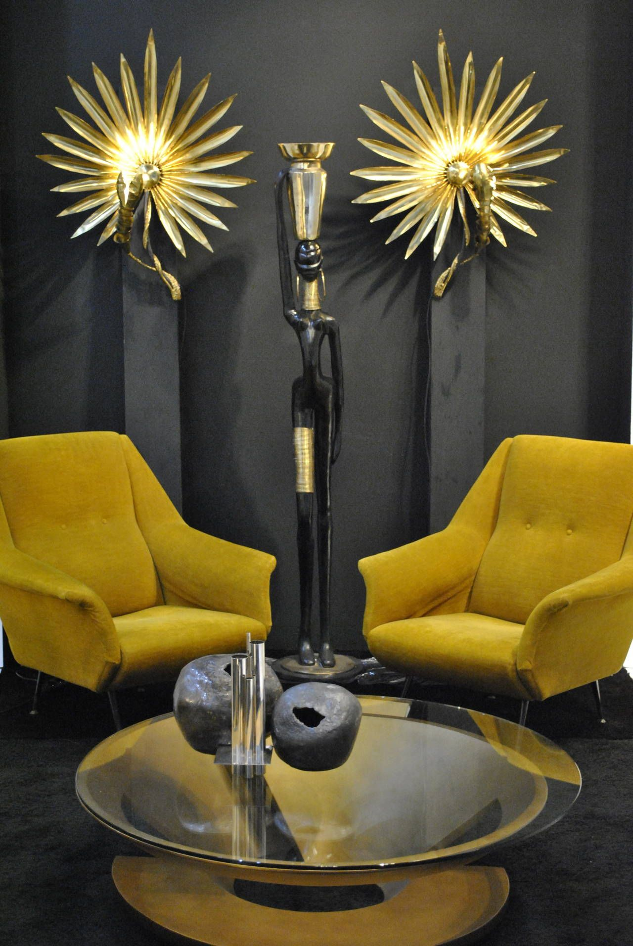 Brass Sunburst Sconces by Henri Fernandez for Jacques Duval-Brasseur | 1980