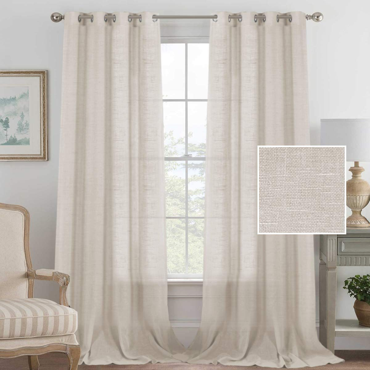 Linen Curtains Sliding Door Semi Sheer Curtain Panels American Country Style Linen Curtain Drapes For Patio Girls Room Curtains Curtains Living Room Curtains