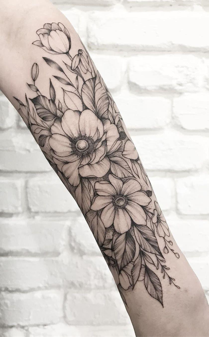 Tatuagem Feminina Flores Braço Delicadadelicada Braco
