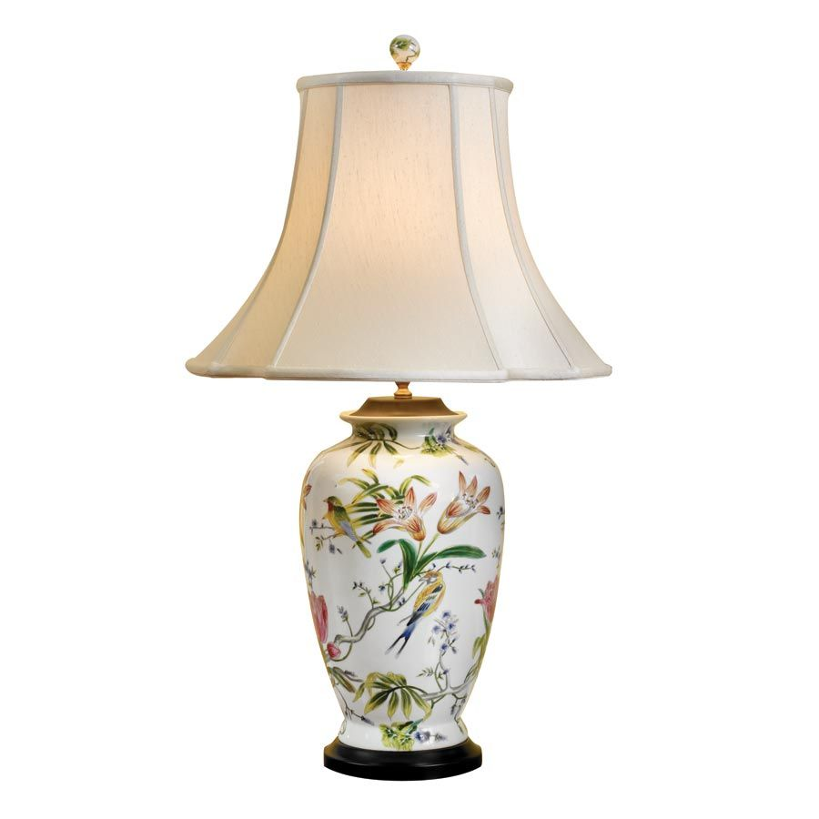 Porcelain vase lamp with birds and tulips in a beautiful home porcelain vase lamp with birds and tulips mozeypictures