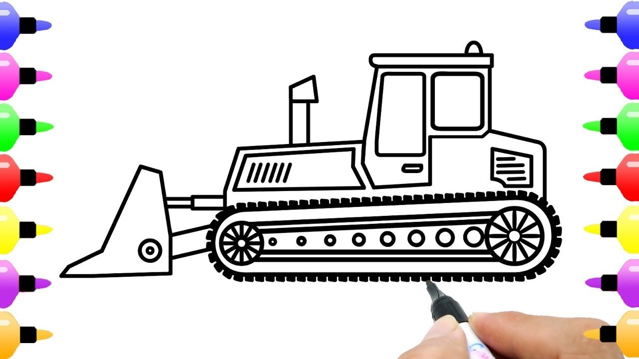 How To Draw Bulldozer For Kids Truck Coloring Page With Colored