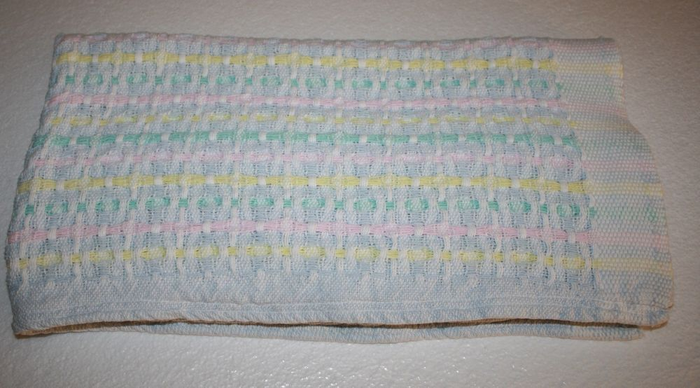 414efc12550 Striped 100% Cotton Woven Large Baby Blanket Pastel blue yellow pink green  white  Unknown