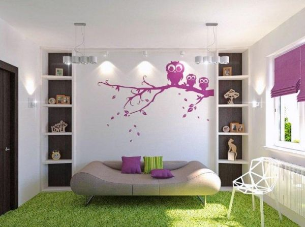 Bon Ungewöhnliches Bettdesign Jugendzimmer Lila Grün Wandtattoo