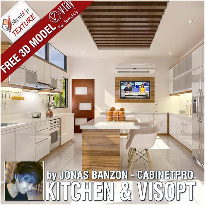 FREE skechup model, modern kitchen, included vray