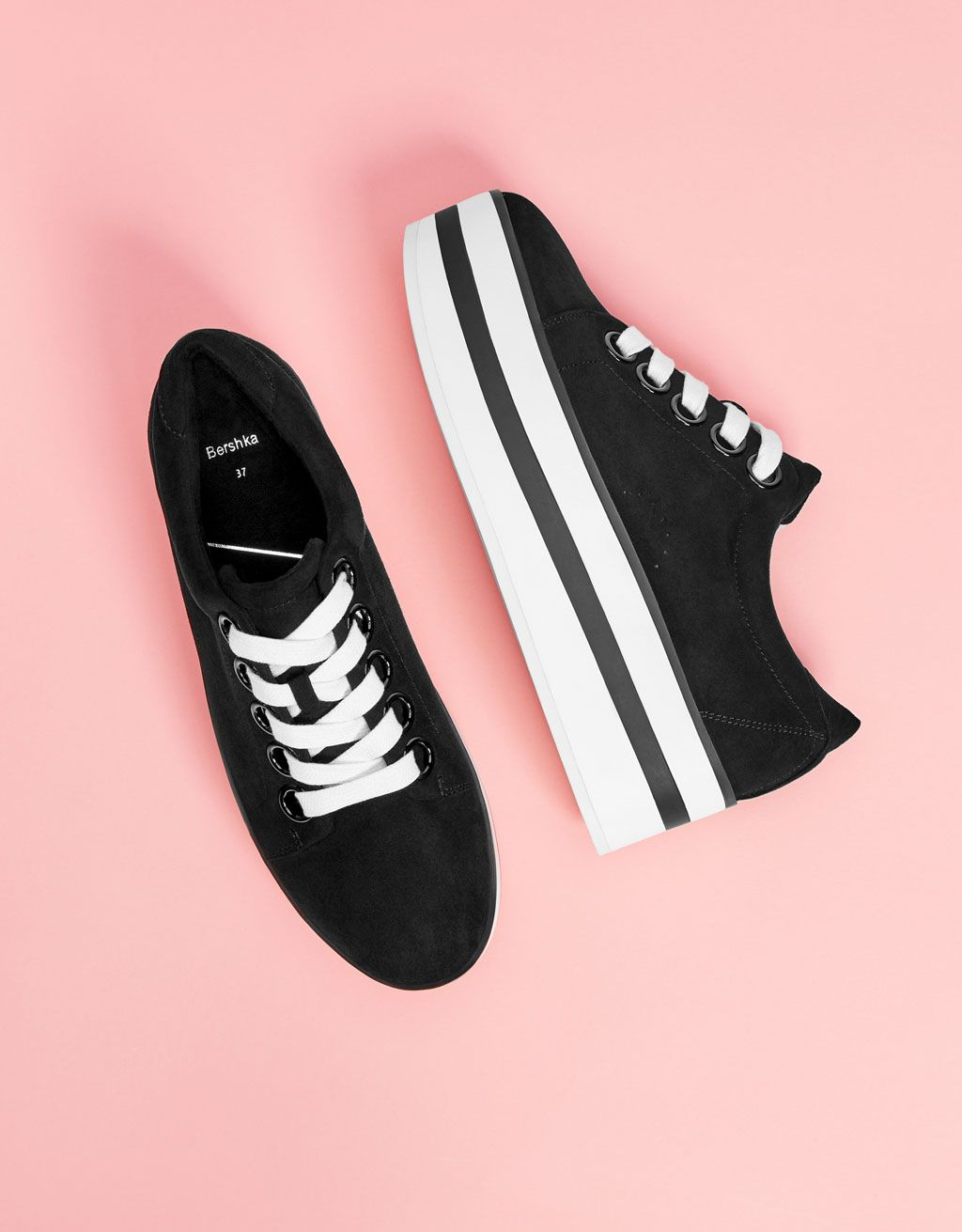 Two-tone platform sneakers - Bershka  fashion  product  shoes  cool  trend   trendy  outfit  girl  platform  sneakers  zapatillas  plataforma 978aaec08