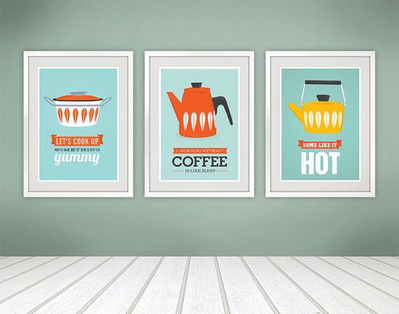 Cathrineholm print, kitchen art, kitchen poster, mid century modern ...