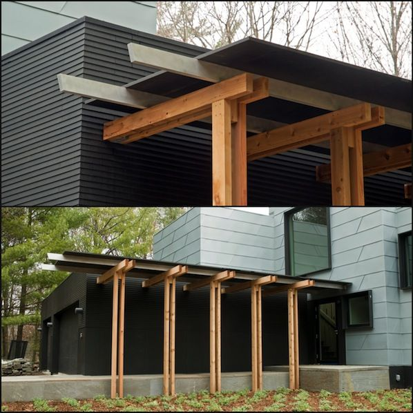 Wood entry trellis richlite rain screen siding koosmann for Architectural wood siding