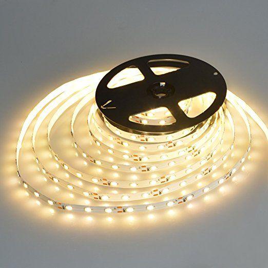 Amazon Com Wentop Waterproof Led Strip Lights Smd 3528 16 4 Ft 5m 300leds 60leds M White Flexible Rope Led Strip Lighting Strip Lighting Led Tape Lighting