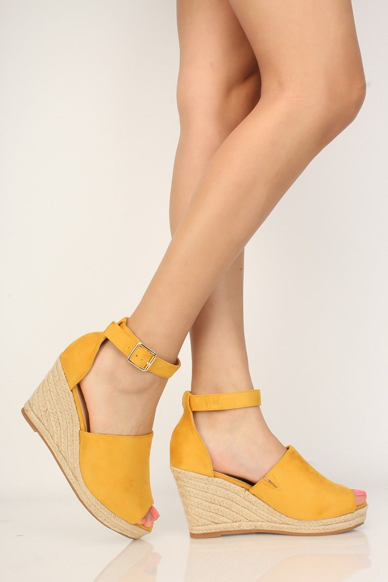 592415d86fc Mustard Yellow Espadrille Wedges Faux Suede | Shoes!! in 2019 ...