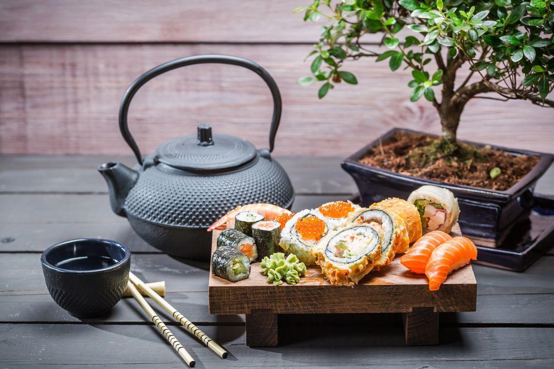 Красивые бесплатные новые фото суши, японская еда, чай ...