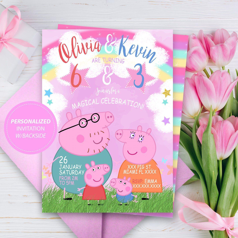 Peppa Pig Invitation Birthday Personalized