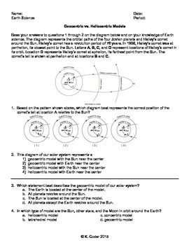 worksheet geocentric vs heliocentric model editable earth science regents resources. Black Bedroom Furniture Sets. Home Design Ideas