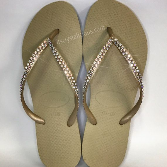 4837e7f2ca9001 Gold Havaianas Covered In SWAROVSKI Crystal AB Bling Flip Flops - 2 Rows